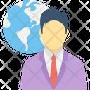 Global Businessman Global Employee International Investor Icon