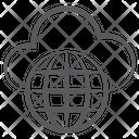 Global Cloud Network Worldwide Network Cloud Computing Icon