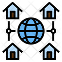 Global Cloud Work At Home Office Connection Icon