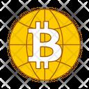 Global Crypto Global Bitcoin Blockchain Icon