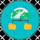 Global Folder Network Global Network Worldwide Storage Icon
