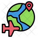 Plane Airplane Globe Icon