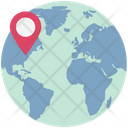 Global Location Globe With Pin Worldwide Location Icon