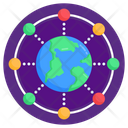 Centralized Network Global Network Global Connections Icon