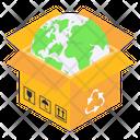 Global Parcel Global Package Global Carton Icon