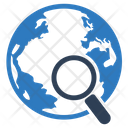 Global Searching Globe Magnifier Icon