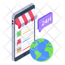Global Shopping 24 Hour Shopping Online Products Icon