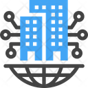 Global Smart City Buildings Connection Icon