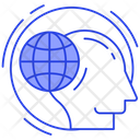 Global Thinking Human Mentality Global Imagination Icon