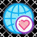 Globe Love Icon