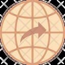 Globe With Arrow Icon