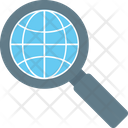 Globe With Magnifier Icon