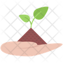 Hand Earth Sprout Icon