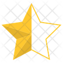 Gold Half Star Star Award Icon