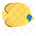 Golden Butterfly Fish Sea Creature Animal Icon