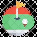 Golf Club Golf Flag Golf Course Aerial Icon