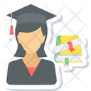 Graduate Girl Student Icon
