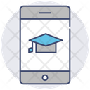 Mobile Learning Graduate Hat Online Education Icon