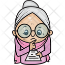 Grandmother Reading Paper Icon