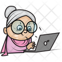 Grandmother Using Laptop Icon