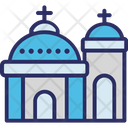 Blue Domed Church Santorini Icon