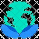 Button Green Planet Earth Icon