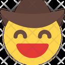Grinning Smiling Eyes Cowboy Icon