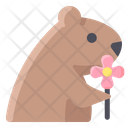 Groundhog Holding Flower Icon