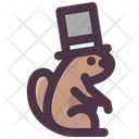 Groundhog Day Groundhog Wearing Hat Megician Hat Icon