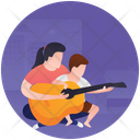 Guitar Practice Mother Love Parenthood Icon