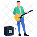 Male Rock Star Playing Guitar Guitar Player Icon