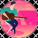 Camping Guitarist Music Man Musician Icon