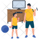 Physical Fitness Training Father And Son Icon