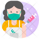 Female Hairdresser Vaccination Icon