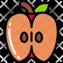 Half Apple Food Eating Icon