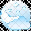 Cloudy Night Night Time Night Sky Icon