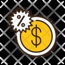 Half Price Dollar Coin Coin Icon