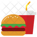 Hamburger with cold drink Icon