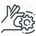 Hand Gear Cogwheel Icon