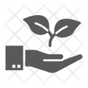 Hand holding plant icon Icon