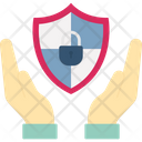 Hand Holding Shield Lock Protection Concept Security Concept Icon