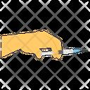Hand Holding Syringe Injection Injecting Icon