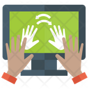 Hand Print Scanning Security Icon