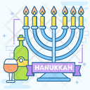 Jewish Festival Hanukkah Festival Of Lights Icon