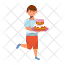 Happy Boy With Cake Cheerful Preschooler Icon