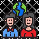 Happy Couple Earthday Man Icon