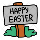 Happy Easter Signboard Icon