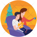 Happy Family Christmas Night Family Time Icon
