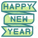 Happy New Year Ribbon Design Icon