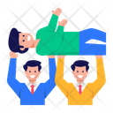 Cheerful Team Lifting Employee Happy Teamwork Icon